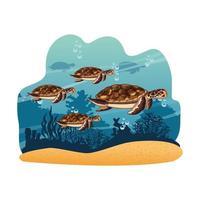 Tortues marines nageant dans la mer
