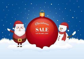 Bannière de saison de vente de Noël avec le père Noël
