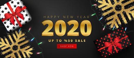 Offre de réduction de 50 pour le lettrage de vente de bonne année 2020 vecteur