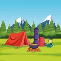 éléments de camping dans un paysage rural vecteur