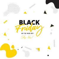 Affiche de vente ou de modèle Black Friday vente avec offre de 50 rabais sur fond abstrait jaune.