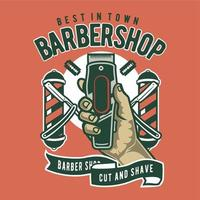 L'insigne du style vintage de coiffeur vecteur