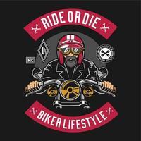 Rouler ou mourir le style de vie des motards vecteur