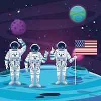 Astronautes dans le paysage lunaire
