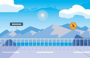 scène nature paysage de neige avec des panneaux pour cycliste