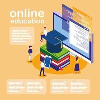 éducation en ligne avec ordinateur et mini-personnes