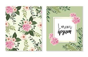 Set de cartes et étiquettes avec des plantes roses