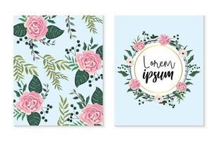 Ensemble de carte et motif floral vecteur