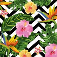Fleurs tropicales sur fond géométrique