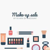 Bannière de vente au rabais sur le maquillage vecteur