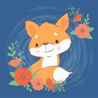 Renard de dessin animé mignon avec un bouquet de coquelicots