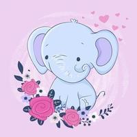 Éléphant de dessin animé mignon avec un bouquet de roses vecteur