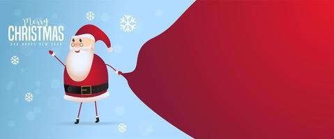 Père Noël avec un sac énorme et un espace pour le texte vecteur