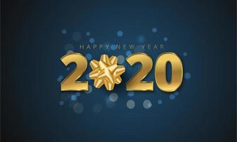 Carte de voeux de bonne année 2020 avec l'arc de cadeau doré sur le bokeh bleu