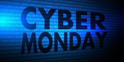 Bannière Cyber Monday avec code binaire