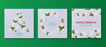 Jeu de carte de voeux de joyeux Noël et joyeux Noël flocons de neige ou fond vecteur