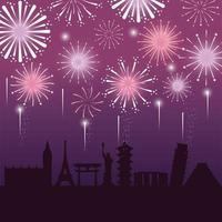 feu d'artifice décoration nuit ville à événement vecteur