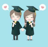 Jour de remise des diplômes avec garçon et fille vecteur