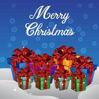 Coffrets cadeaux de Noël avec fond bleu.