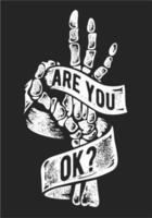 Slogan de typographie avec une main squelette vecteur