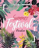 Slogan d'été avec des fleurs tropicales vecteur