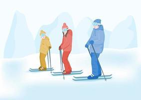 Heureuse famille profitant des sports d'hiver vecteur