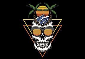 Illustration rétro de crâne vacances plage coucher de soleil