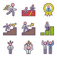 Icônes de développement de carrière homme d'affaires vecteur