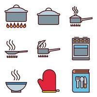 Jeu d'icônes de cuisine de couleur vecteur