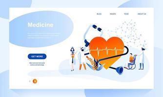 Modèle de page de destination de médecine avec en-tête vecteur