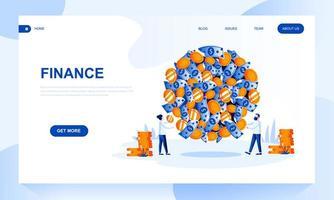 Modèle de page d'accueil Finance avec en-tête vecteur