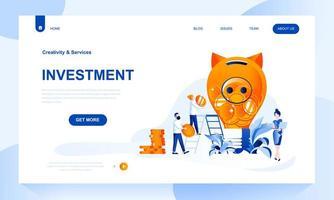 Modèle de page de destination d'investissement avec en-tête vecteur