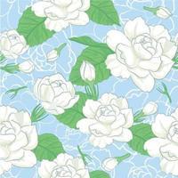 Motif de fleur de jasmin sur fond bleu vecteur