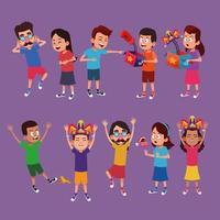 Enfants avec des dessins humoristiques vecteur