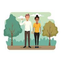 Jeune couple dans le paysage du parc vecteur