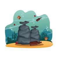 Dessins de nettoyage de la mer vecteur