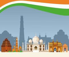 Concept de paysage architecture bâtiment Inde vecteur