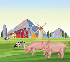 dessins animés d'animaux de ferme