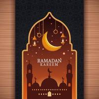 ramadan kareem avec lune décroissante et art islamique vecteur