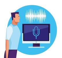 Personnes utilisant la reconnaissance vocale vecteur