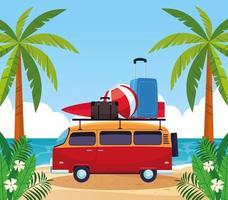 L'été et les vacances en van vintage vecteur