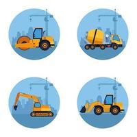 caricature de véhicules de construction