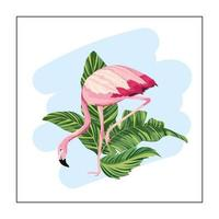Flamant tropical avec des plantes exotiques