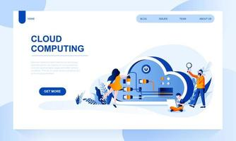 Modèle de page d'atterrissage vecteur informatique en nuage avec en-tête