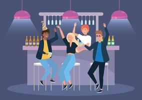 femmes et hommes en soirée avec bière et champagne vecteur