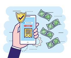 main avec smartphone et mot de passe bancaire de sécurité vecteur