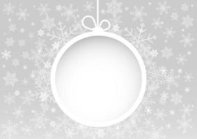 Noël et bonne année fond blanc avec boule de neige blanche