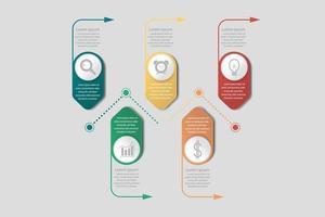 Business bannière infographique avec des flèches et des icônes vecteur