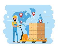 livreur et chariots avec service de distribution de colis vecteur