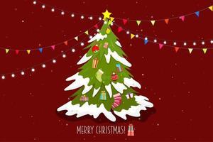 Poster joyeux noel avec arbre et boite cadeau